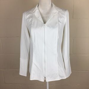 lafayette 148 NY white zip collared stretch shirt